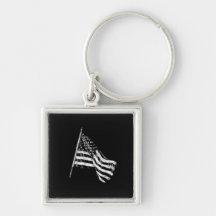 American Flag Sketch Key Chain Key Chain