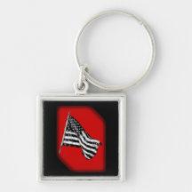American Flag Sketch Red Key Chain Key Chains