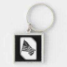 American Flag Sketch White Key Chain Keychains