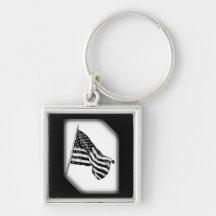 American Flag Sketch White Key Chain Keychains