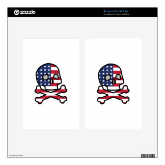 American Flag Skull Decals For Kindle Fire
