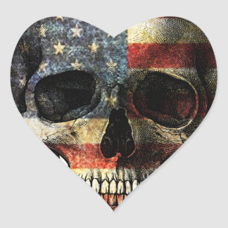 American flag skull heart sticker