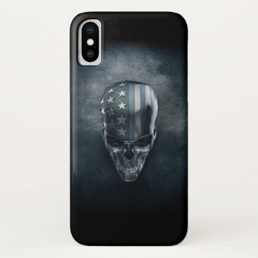 USA Themed American Flag Skull iPhone X Case