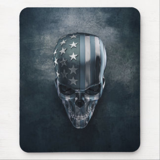 American Flag Skull Mouse Pad
