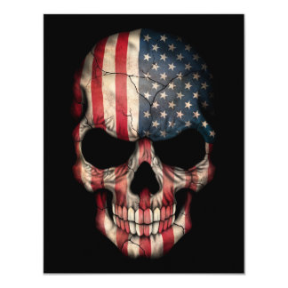 American Flag Skull on Black 4.25x5.5 Paper Invitation Card