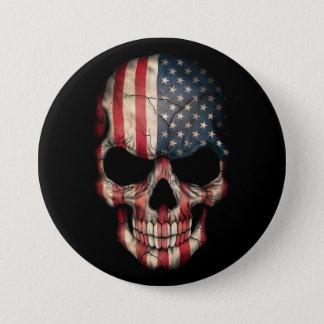 American Flag Skull on Black Button
