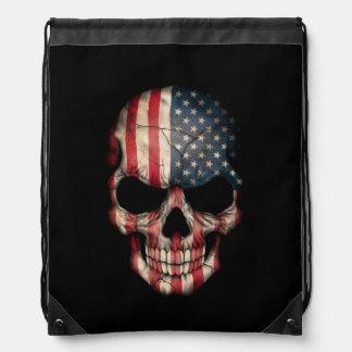 American Flag Skull on Black Drawstring Backpack