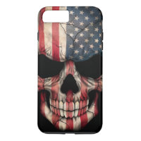 American Flag Skull on Black iPhone 8 Plus/7 Plus Case