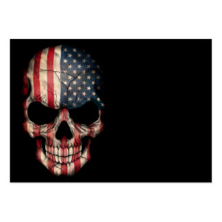 American Flag Skull on Black Large Business Card
