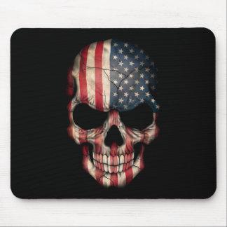 American Flag Skull on Black Mouse Pad
