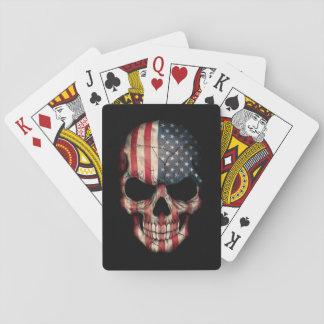 American Flag Skull on Black Poker Deck