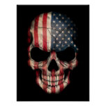 American Flag Skull on Black Poster