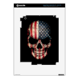 American Flag Skull on Black Decals For iPad 3