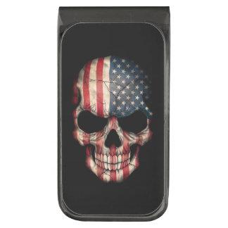 American Flag Skull on Black Gunmetal Finish Money Clip