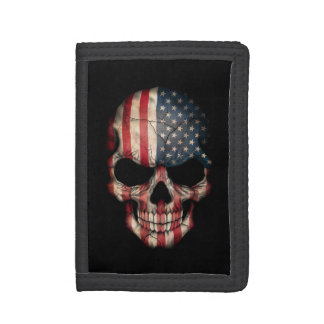 American Flag Skull on Black Tri-fold Wallets