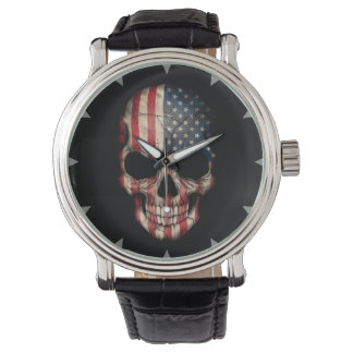 American Flag Skull on Black Wrist Watch