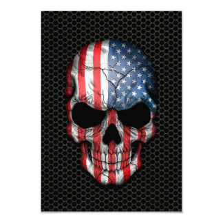American Flag Skull on Steel Mesh Graphic 3.5x5 Paper Invitation Card
