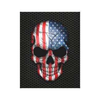 American Flag Skull on Steel Mesh Graphic Canvas Print