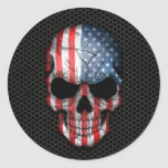 American Flag Skull on Steel Mesh Graphic Classic Round Sticker