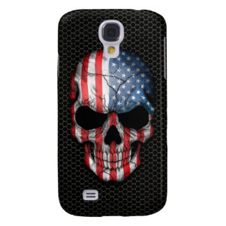 American Flag Skull on Steel Mesh Graphic Galaxy S4 Cover