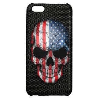 American Flag Skull on Steel Mesh Graphic iPhone 5C Case