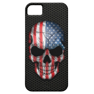 American Flag Skull on Steel Mesh Graphic iPhone SE/5/5s Case