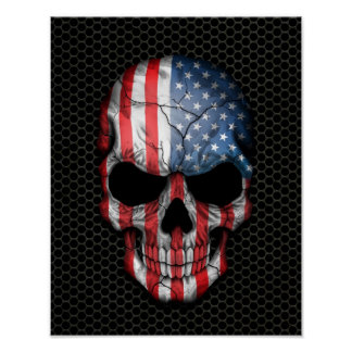 American Flag Skull on Steel Mesh Graphic Poster