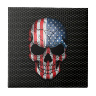 American Flag Skull on Steel Mesh Graphic Small Square Tile