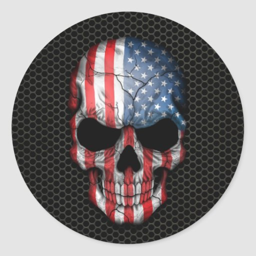 American Flag Skull On Steel Mesh Graphic Classic Round