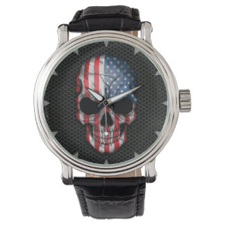 American Flag Skull on Steel Mesh Graphic Watch