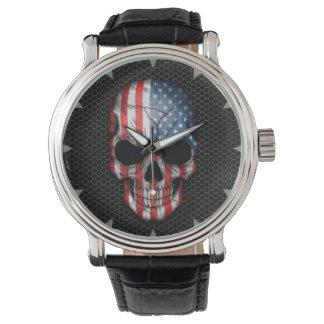 American Flag Skull on Steel Mesh Graphic Wristwatch