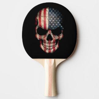 American Flag Skull Ping-Pong Paddle