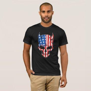 USA Themed American Flag Skull T-Shirt