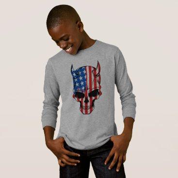 Halloween Themed American Flag Skull T-Shirt