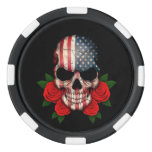 American Flag Skull with Red Roses Poker Chip Set