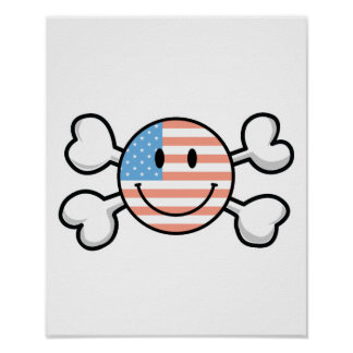 american flag smiley crossbones poster