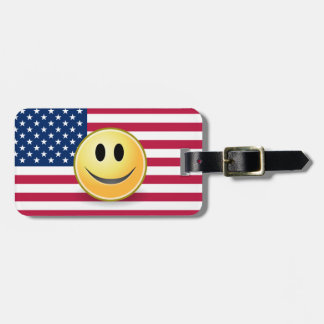American Flag Smiley Face Custom Luggage Tag
