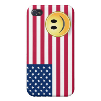 American Flag Smiley Face  iPhone 4/4S Cover