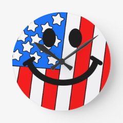American Flag Smiley Face Wall Clock