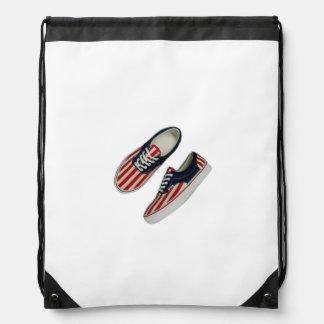 American Flag Sneakers Tile Drawstring Bag