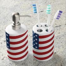 American Flag Soap Dispenser Set