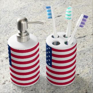 American Flag Soap Dispenser & Toothbrush Holder