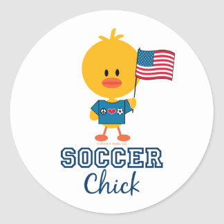 American Flag Soccer Chick Stickers