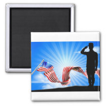 American Flag Soldier Saluting Background Magnet
