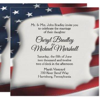 American Flag Splash Wedding Invitations