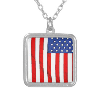 American Flag Square Pendant Necklace