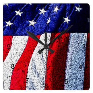 American Flag Square Wall Clock