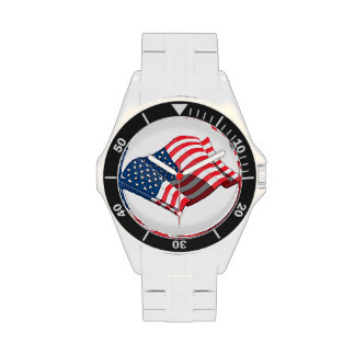 American Flag Stainless Watch