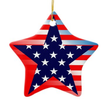 American Flag Star Ceramic Ornament