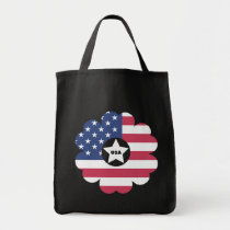 American Flag Star Heart Flower Wreath Tote Bag